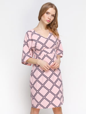 Сукня рожева з геометричним візерунком | 3155111