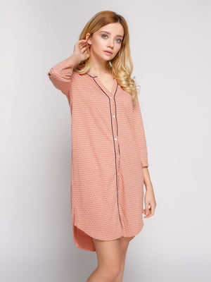 Сукня-сорочка рожева у принт | 4834736