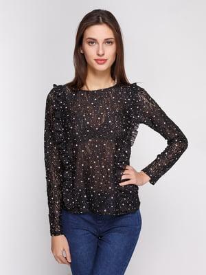 Блуза чорна в принт | 4834704