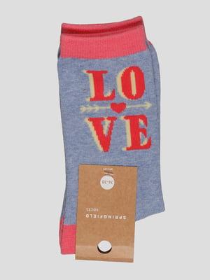 Шкарпетки блакитні у принт | 2992491
