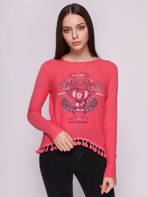 Лонгслив розовый с принтом | 3966577