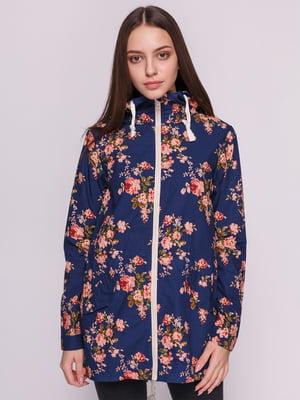 Куртка синяя с цветочным принтом | 3010180