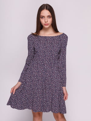 Платье синее с принтом | 3966968