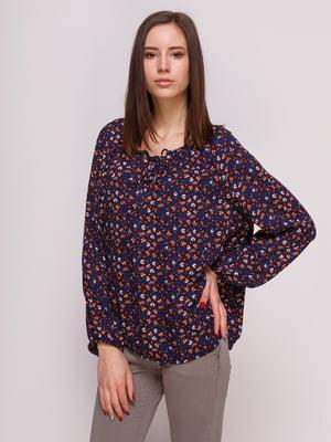 Блуза синяя с цветочным принтом   3966902