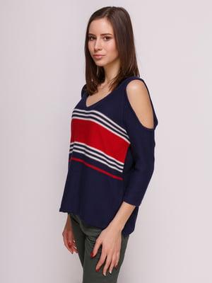 Пуловер синій в смужку | 3966600