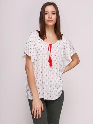 Блуза белая в принт | 2992368