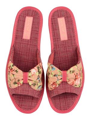 Тапочки рожеві з квітковим принтом | 4843098