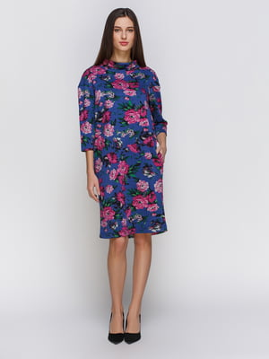 Платье синее в цветочный принт | 4855810