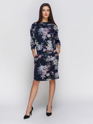 Платье темно-синее в цветочный принт | 4855809