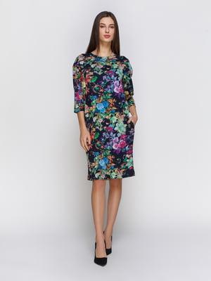 Платье темно-синее в цветочный принт | 4855811