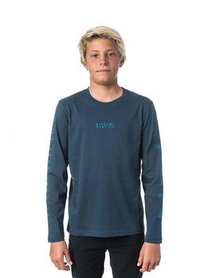 Лонгслів синій з принтом | 4770441