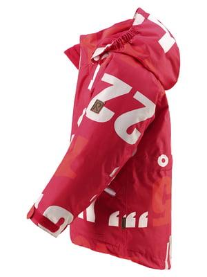 Куртка червона в принт | 4856419