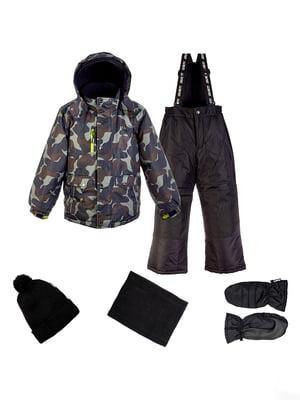 Комплект: куртка, напівкомбінезон, шапка, шарф і рукавиці | 4856599