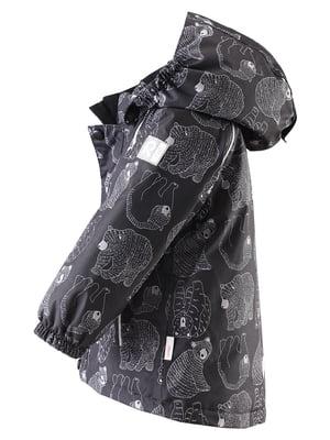 Куртка чорна в принт | 4856676