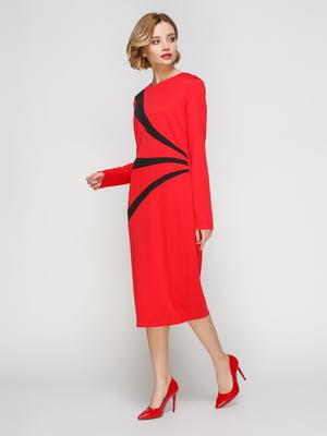 Платье красное с черными вставками | 3045656