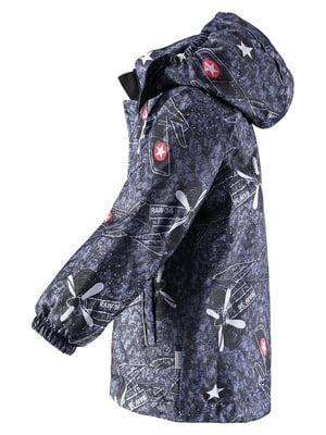 Куртка темно-синя в принт | 4856451