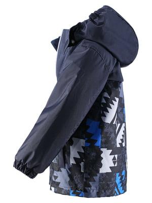 Куртка темно-синя в принт | 4856452