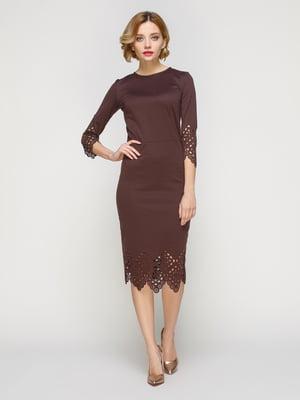 Платье с перфорацией коричневое - My Monday - 3642061