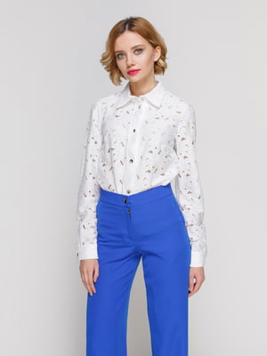 Рубашка белая с перфорацией | 3463200