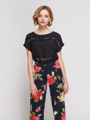 Блуза черного цвета с кружевом легкая | 3328722