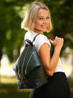 Рюкзак темно-зелений з аплікацією - Alba Soboni - 4861528
