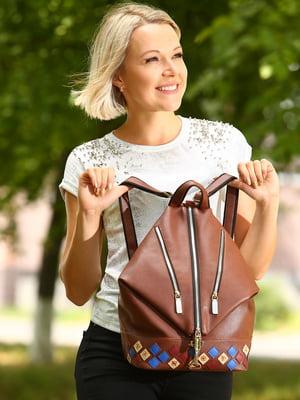 Рюкзак коричневий з аплікацією - Alba Soboni - 4861532