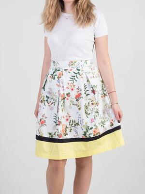Спідниця біло-жовта в квітковий принт | 4576860
