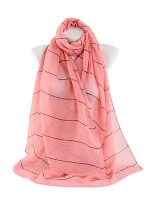 Шарф розовый в тонкую полоску | 4861432