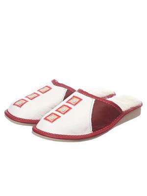 Тапочки біло-червоні шкіряні на овчині | 4863020