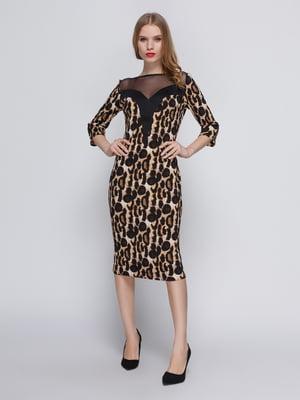 Платье леопардового цвета с кокеткой | 3486509