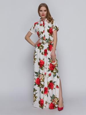 Платье белое с цветочным принтом и эластичным поясом | 3315364