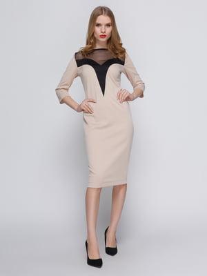 Платье бежевое с кокеткой | 3486508