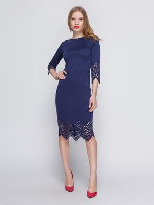 Сукня з перфорацією темно-синя - My Monday - 3642062