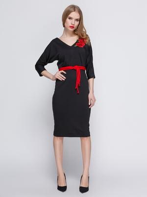 Платье черное с аппликацией и поясом | 3486511