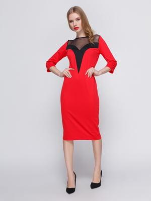 Платье красное с кокеткой | 3486506