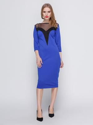 Платье цвета электрик с кокеткой | 3486507