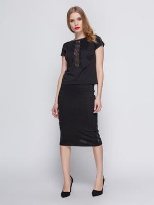 Костюм: блуза і спідниця з гіпюровою вставкою чорного кольору - My Monday - 3544656