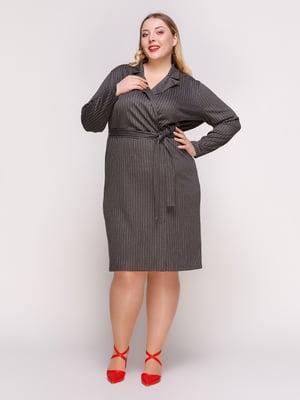 Сукня темно-сіра в смужку | 4861358