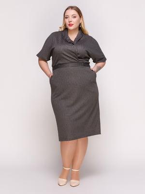 Сукня темно-сіра в смужку | 4861360