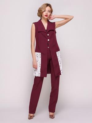 Костюм: жилет і штани кольору марсала | 3544654