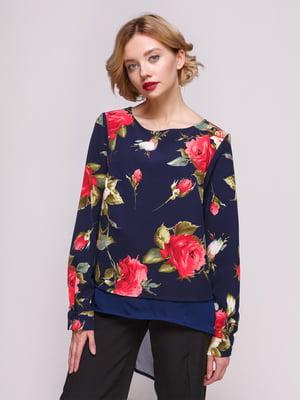 Блуза синяя с цветочным принтом | 3463198