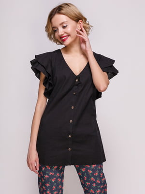 Блуза из льна черная | 3315354