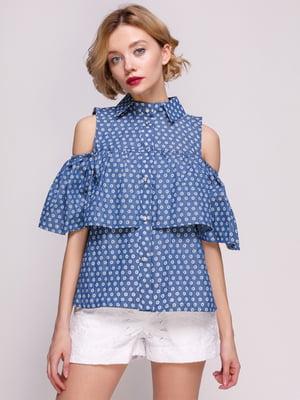 Блуза из тонкого джинса с перфорацией в горох | 3366125