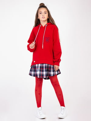 Сукня червона з оздобленням в клітинку   4865797