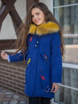 Пальто синее с нашивками | 4865827