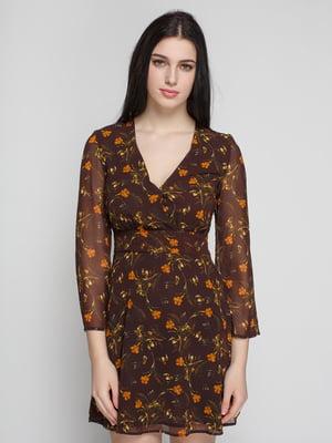 Сукня коричнева з квітковим принтом | 4789402