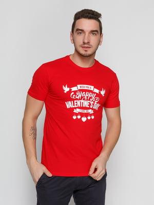 Футболка червона з принтом | 4863551