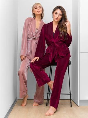 Пижама винного цвета: жакет и брюки | 4860163