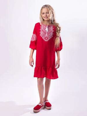 Платье красное с вышивкой | 3713204