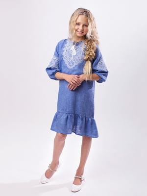 Платье синее с вышивкой | 4235543